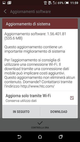 Aggiornamento HTC One A9