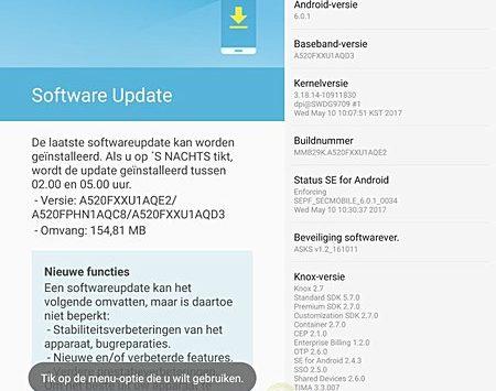 Aggiornamento Galaxy A5 2017